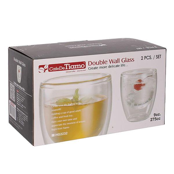 Двойной стеклянный стакан Tiamo HG2232(набор 2шт 275мл)