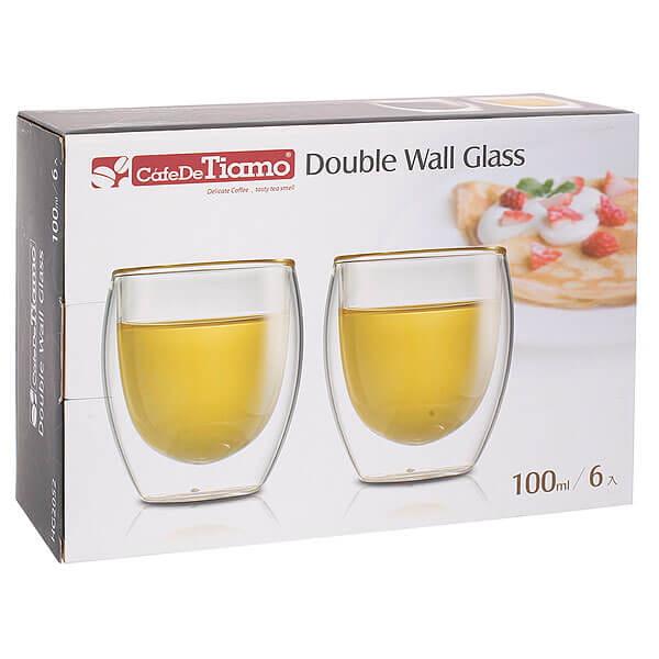 Двойной стеклянный стакан Tiamo HG2052 для эспрессо 100мл (набор 6 шт)
