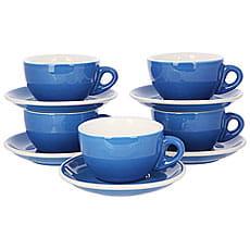 Набор из 5 кофейных пар синего цвета для латте/каппучино 320мл HG0855B
